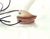 Wood Pendant Necklace Handmade, Heart Pendant Hand Carved, Rustic Heart Pendant, Olivewood Pendant