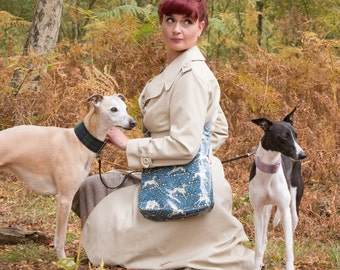Whippet Oilcloth Cross-Body Bag / Messenger Bag / Vegan Bags / designed by Susie Faulks / made in England / Whippet/ Greyhound/ Hounds