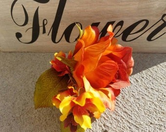 Fall Boutonniere, County boutonnieres, fall rose boutonniere, French rose boutonniere, orange boutonniere, yellow