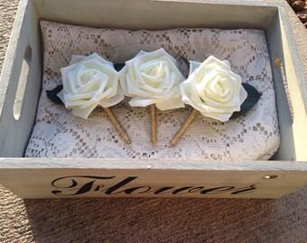 Ivory Boutonniere,  Rose boutonniere, Wedding Boutonniere, Elegant boutonniere, rose boutonnieres, classic boutonniere, rustic boutonniere