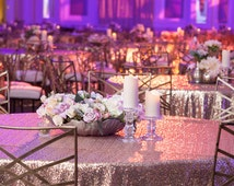 Sparkly Glitz Sequin Tablecloths -90'' x 132'' Banquet - Any COLOR