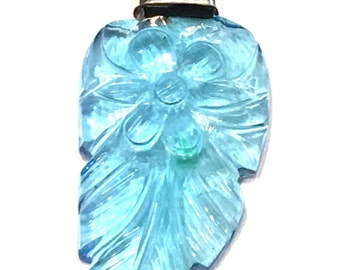 64ct. Blue Topaz Hand Carved Feather Pendant 925 Sterling Silver Necklace