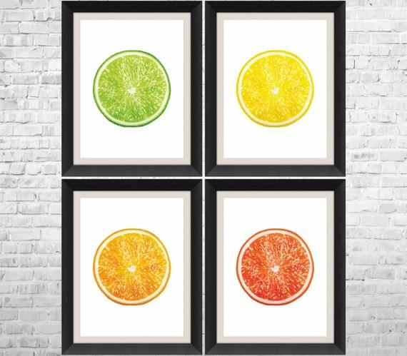 Https Www Etsy Com Listing 386611544 Citrus Kitchen Art Fruits Print Fruit