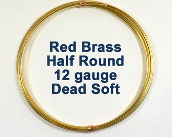 12ga Half Round DS Red Brass Wire - Choose Your Length