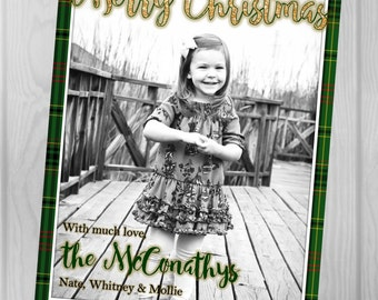Custom Digital, PRINTABLE CHRISTMAS CARD, Green Plaid, Gold, Merry Christmas, Insert Picture of your choice.