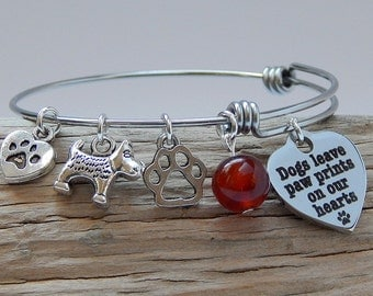 Dog Charm Bracelet Bangle Adjustable Bracelet Dogs Leave Paw Prints On Our Hearts Charm Animal Lover Birthday Gift Womens Jewelry
