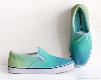 New pair! Superga slip on sneakers, light green ombré, dip dye shoes, ombré shoes, green aquamarine, size eu 38 (UK 5, US Men's 6, Wo 7.5)