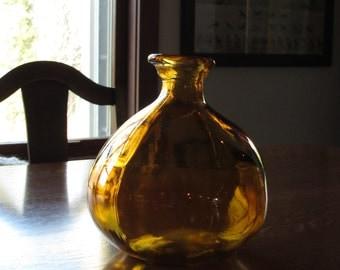 Asymmetrical Amber Honey Brown Art Glass Bottle, Organic Glass, Irregular,Bubbles,Farmhouse Rustic, Contemporary Decor,Fat Brown Bottle,Vase