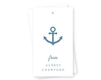 Personalized Birthday Gift Tags, Nautical Anchor, Set of 10