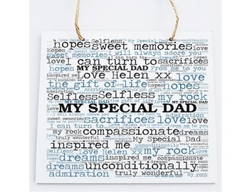 Personalised Father Word Art Plaque -  Special Dad.