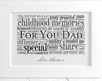 Personalised Dad Framed Word Art