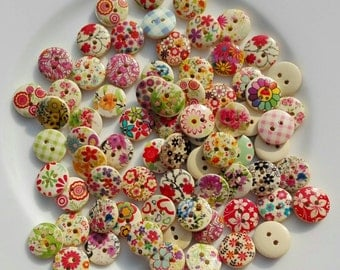 "50 Wooden Buttons ""Mixed Fantasy"" 15mm"