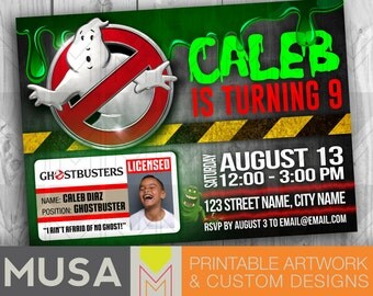 Ghostbusters inspired |  Personalized Digital Invitation with photo