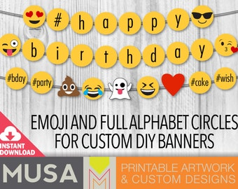 INSTANT DOWNLOAD / EMOJI full alphabet circles for custom banner, photo props and decor