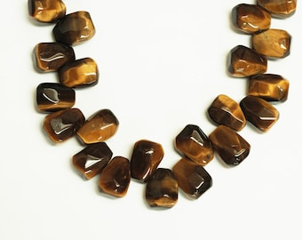 Tiger Eye Nugget Shape Top Drill Beads