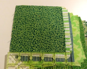 5x5 Green Scrap Fabric Collection