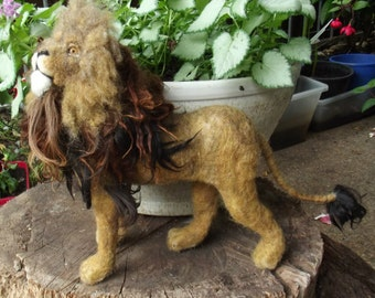 Made to order needle felted Lion, Custom needle felted Animal Sculpture