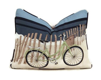 bicycle pillow cover bike pillowbeach blue white pillow cover
