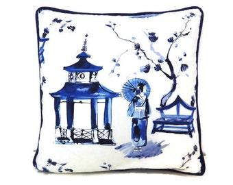 Blue and White Pillow Cover, Pagoda Gardens Pillow Cover, Japanese Pillow,Asian Style Pillow- Asian Decor, Blue Pillows