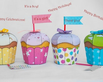 Editable Dream Cupcake Favor Box Set for Cupcake Party