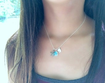 Sand dollar Necklace 925 sterling Silver Starfish Necklace Mint Necklace Starfish Jewelry Mint Jewelry Sand dollar Jewelry beach Jewelry