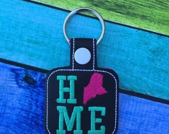 Maine HOME - State- The Hoop - Snap/Rivet Key Fob - DIGITAL Embroidery Design
