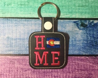 Colorado HOME - State- The Hoop - Snap/Rivet Key Fob - DIGITAL Embroidery Design
