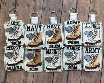 Military - Combat Boots, Dog Tags - Key Fob SET of 10 Designs - In The Hoop - DIGITAL Embroidery DESIGN