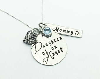 Memorial necklace hand stamped Daughter of an Angel necklace with name swarovski crystal and heart wings charm. Loss of parent keepsake