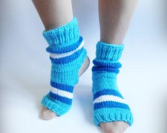Yoga Socks, Hand Knitted Soks, Blue Knit Soks, Heel Less Socks, Pedicure Socks, Flip Flop Socks, Pilates Socks