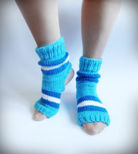 Knitting Patterns Heel Less Socks : Yoga Socks Hand Knitted Socks Blue Knit Socks by CrazyButterflies