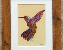 Hummingbird Picture Hummingbird Painting Hummingbird Print Hummingbird Framed in lovely Oak effect frame. Colourful bird print for any space