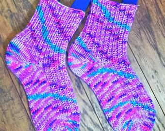 Purple Acrylic Hand Knit slipper socks Medium