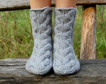 Knitted slippers socks, Hand knit wool socks, Socks for Home, Socks for Sleep,  Hand knit slippers, Wool socks for women