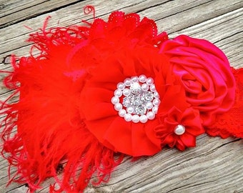 Red over the top lace headband *Valentine's day headband *Feather headband* First Valentine's Day headband *First Birthday Headband