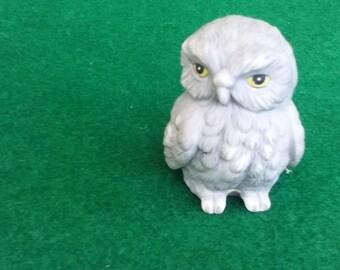 Vintage Porcelain Gray Little Owl