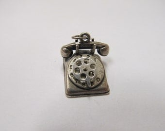 Vintage Sterling Silver Rotary Telephone Charm Item W # 255