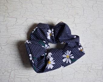Navy Blue Polka Dot Floral Scrunchie