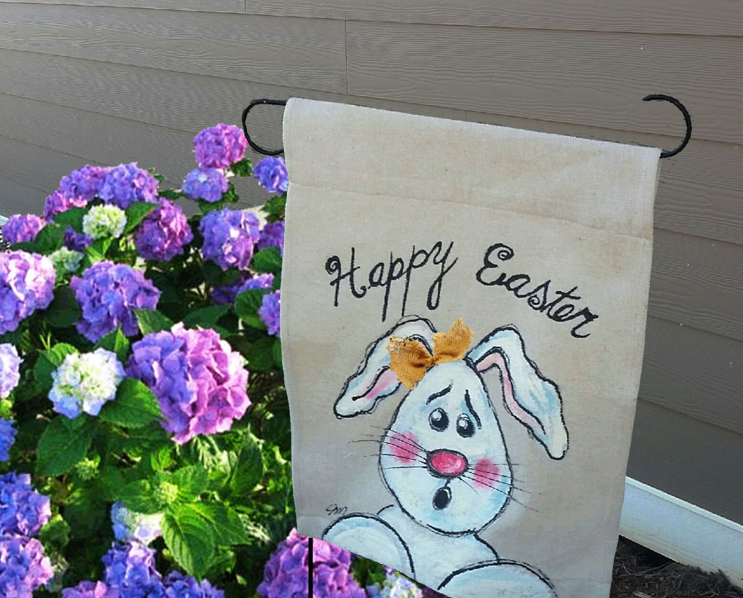 Garden flag easter bunny easter home decorations spring - Flag decorations for home ...