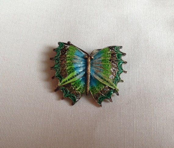 SALE! Blue and Green Filigree Plique à Jour Enamel Darling Butterfly Pin Marked 925 Silver