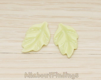 CBC05-YG // Yellow Green Colored Simple Pressed Texture Leaf Flat Back Cabochon, 6 Pc