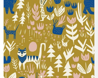 LORE by Leah Duncan for Cloud 9 Fabrics - Lions, Tigers & Bears Gold - 100% Organic Cotton (0.25m)