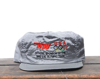 Awesome Vintage 90's Metallic Silver Nations Way Transport Trucking Official Olympic Sponsor 1992 Trucker Hat Strapback Baseball Cap