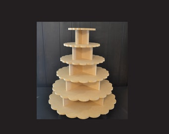 6 tier unpainted scalloped cupcake stand, cupcake tower, cupcake stand, wedding cake stand, cupcake tower, scalloped SC-8,11,14,17,20,23