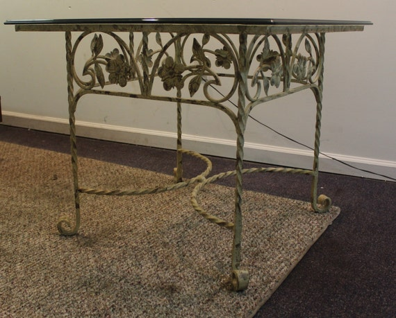 Wrought iron cocktail side glass top table w by for Wrought iron cocktail table bases