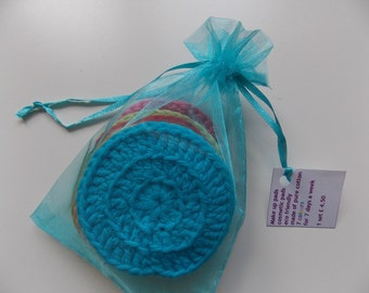 Face scrubbies make up cosmetic removal pads teal/turquoise set of 7 for 7 days a week ecofriendly re-usable washable colour