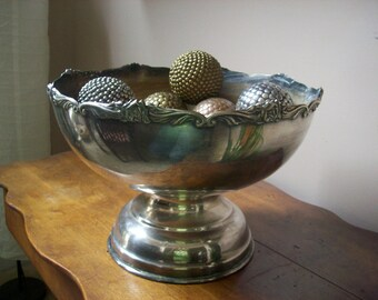Large Silver Pedestal Bowl