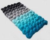 "Gradient Yarn Set- Hand dyed Superwash  sock yarn  in""Sea breeze and gray shades"""
