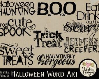 Halloween Digital Scrapbook Word Art Clip Art & Card Making Typography - Halloween Typography Overlays