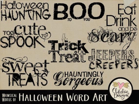 Halloween Word Art Clipart Digital Scrapbook Word Art Clip